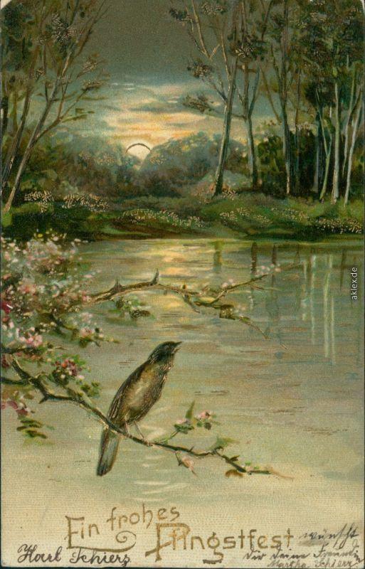 Ansichtskarte  Künstlerkarte Pfingstfest - Vogel 1905 Goldrand