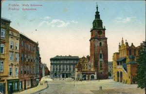 Ansichtskarte Krakau Kraków Wieza Ratuszowa/Partie am Rathausturm 1915