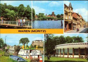 Ansichtskarte Waren/Müritz Kietzbrücke, Lange Straße, Hafen g1979