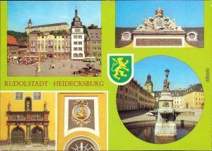 Ansichtskarte Rudolstadt Schloss Heidecksburg mit Markt und Brunnen 1982