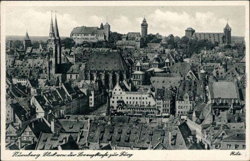 Ansichtskarte Nürnberg Blick über die Dächer der Stadt 1932