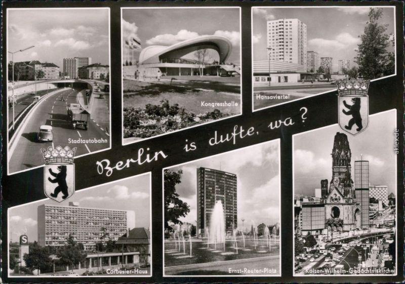 Berlin Stadtautobahn, Kongresshalle, Hansaviertel,  Ernst-Reuter-Platz,  1964