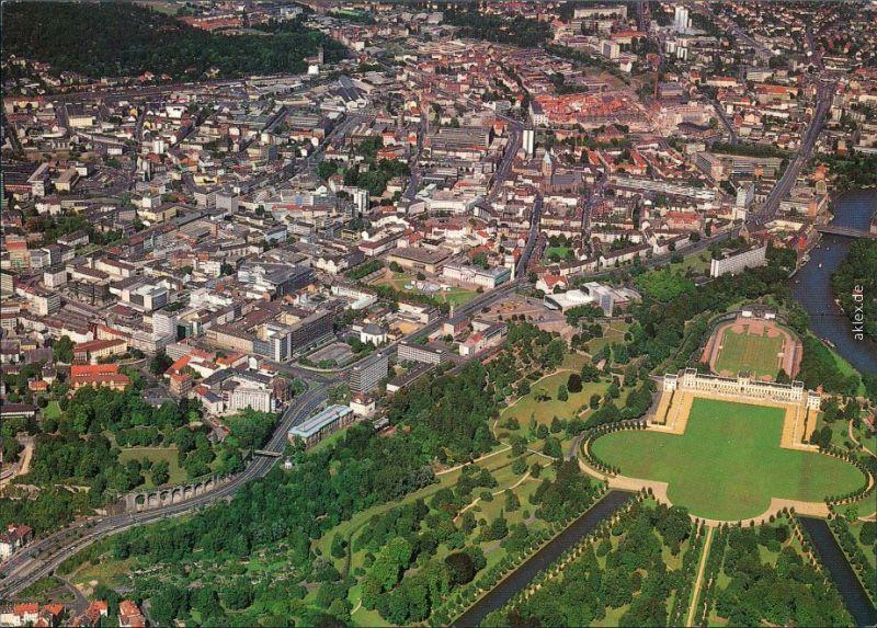 Ansichtskarte Kassel Cassel Luftbild - Zentrum mit Orangerie und Auepark 1986