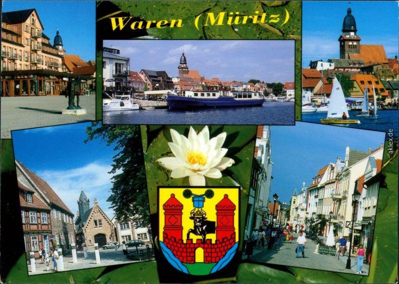 Waren (Müritz) Stadthafen mit Marienkirche, Alter Markt, Lange Straße 2006