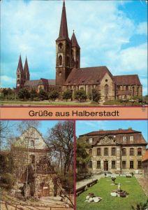 Ansichtskarte Halberstadt Dom, Martinikirche, Jagdschloß Spiegelsberge g1987