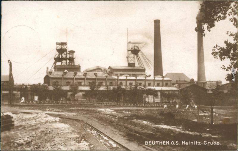 Beuthen O.S. Bytom   Beuthn Heinitz-Grube (Fotokarte) Oberschlesien  1928