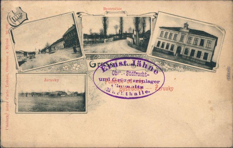 Ansichtskarte Bystročice 4 Bild: Stadt und Straßen b Olmouc Olmütz 1908
