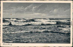 Ansichtskarte Henkenhagen Ustronie Morskie Brandung b Kolberg 1932