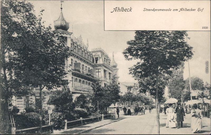 Ansichtskarte Ahlbeck (Usedom) Strandpromenade - Ahlbecker Hof 1913