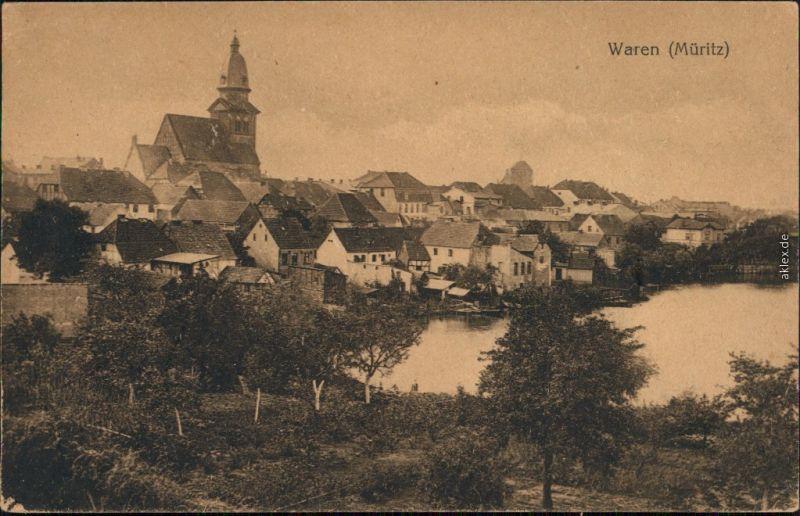 Ansichtskarte Waren (Müritz) St. Marienkirche - Stadtpartie 1922