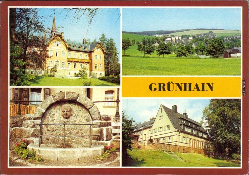 Grünhain  Beierfeld Kurheim, Teilansicht, Mönchsbrunnen, Genesungsheim 1983