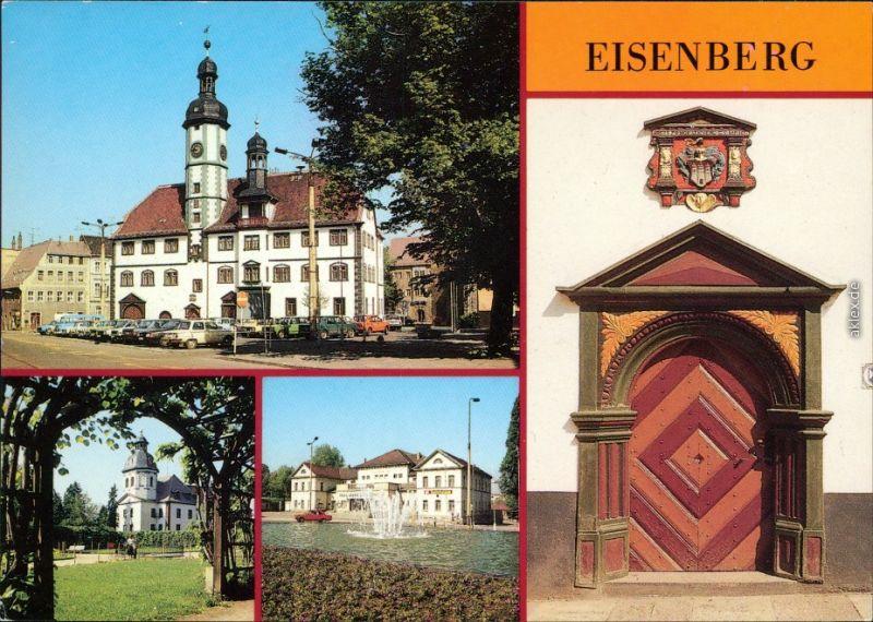 Eisenberg (Thüringen) Rathaus, Blick zur Schloßkirche, Platz der Republik  1988