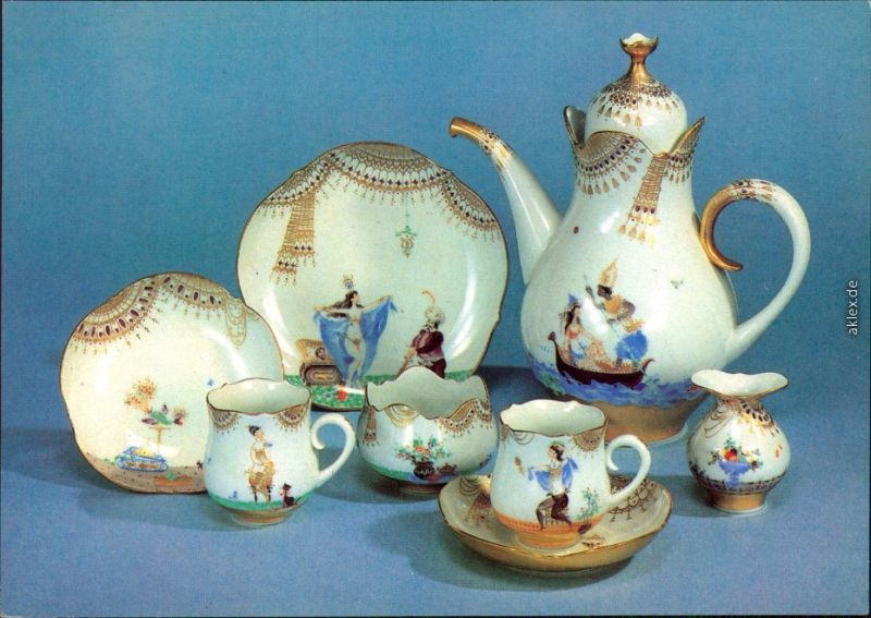 Ansichtskarte Meißen Porzellan: Caféservice Großer Ausschnitt