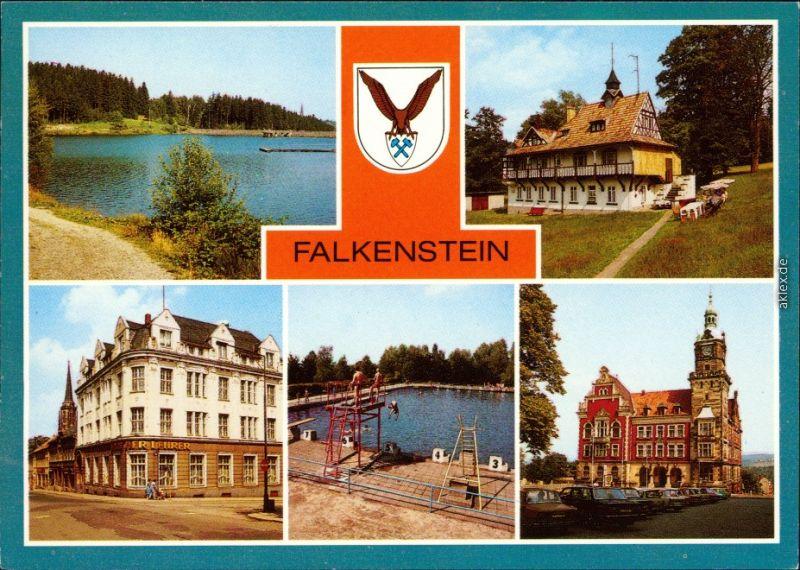 Falkenstein (Vogtland)  Hanneloh. Haus der Lehrer, Freibad,  1989