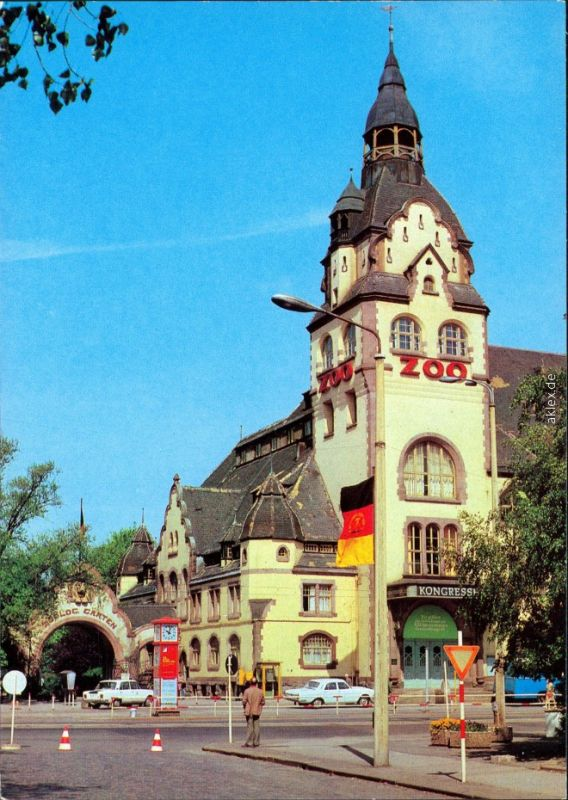 Ansichtskarte Leipzig Leipzig Kongreßhalle Zoo 1980