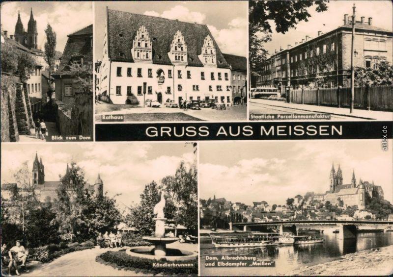 Meißen Dom, Rathaus, Staatliche Porzellanmanufaktur, Kändlerbrunnen, Dom  1971