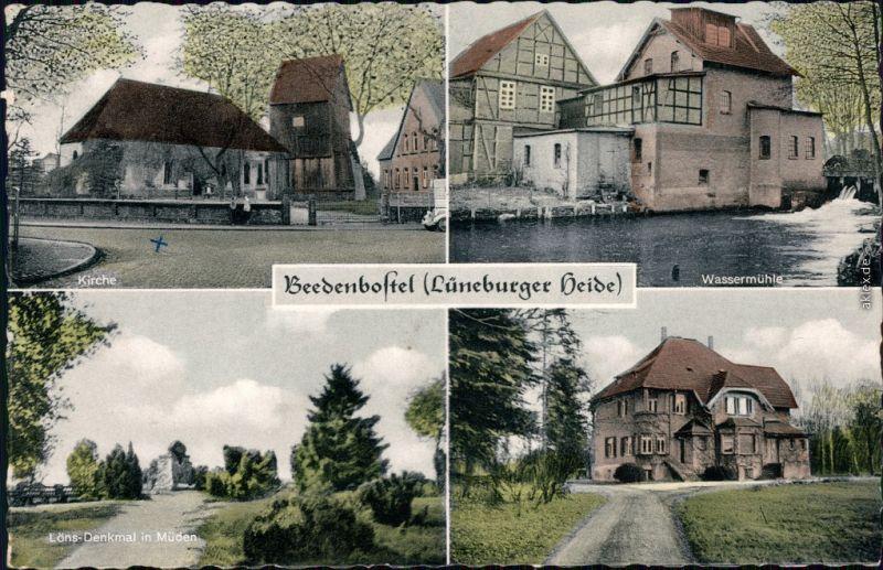 Beedenbostel Kirche, Wassermühle, Löns-Denkmal in Müden, Ortsmotiv 1960