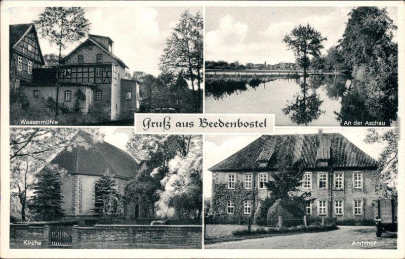 Ansichtskarte Beedenbostel Wassermühle, An der Aschau, Kirche, Amtshof 1938