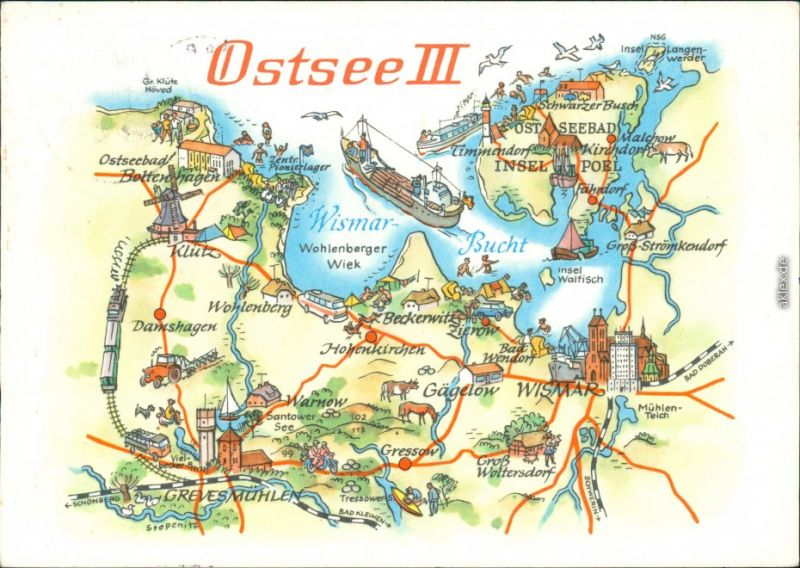 Ansichtskarte Poel Insel Poel - Landkarte 1979