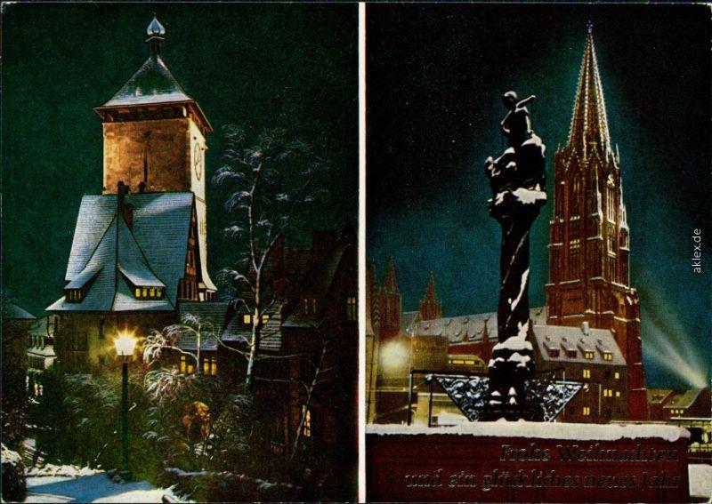 Ansichtskarte Freiburg im Breisgau Schwabentor und Münster bei Nacht 1978