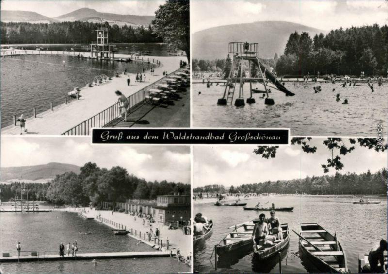 Ansichtskarte Großschönau (Sachsen) 4 Bild: Waldstrandbad - Boote 1977