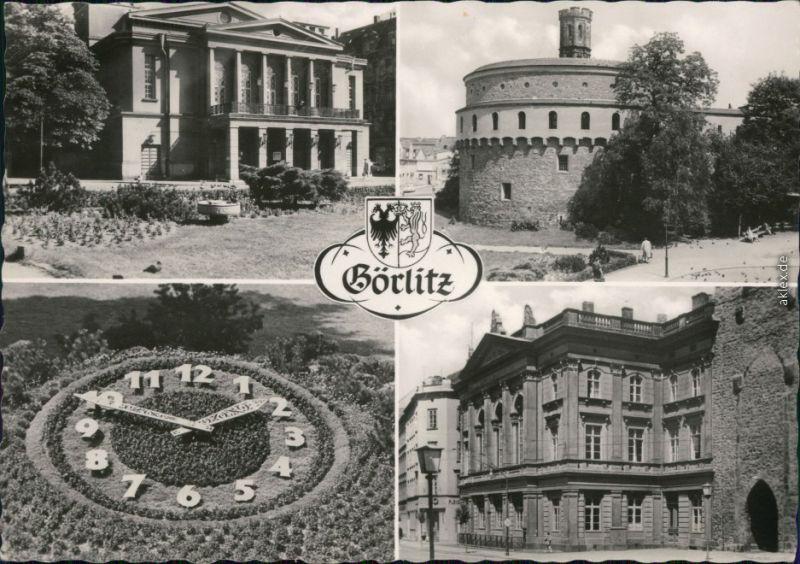 Görlitz Zgorzelec Demianiplatz: Stadttheater,  Blumenuhr, Humboldthaus 1965