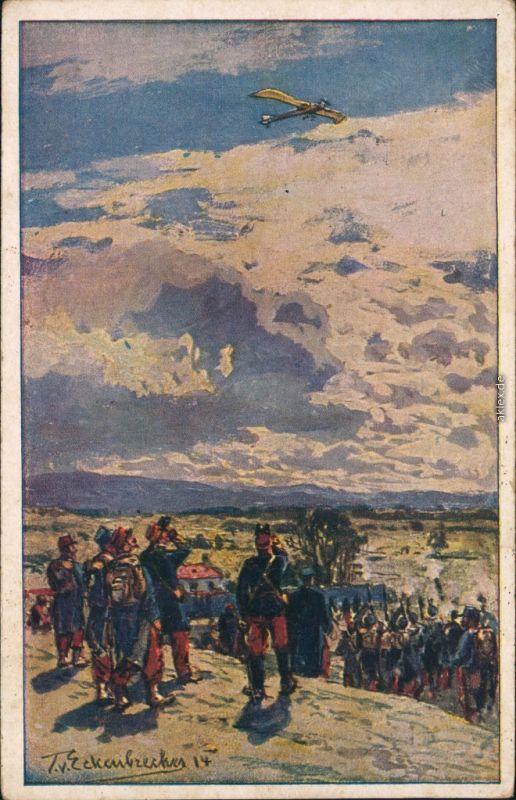 Ansichtskarte  1. WK - Beschießung einer deutschen Taube Künstlerkarte 1916