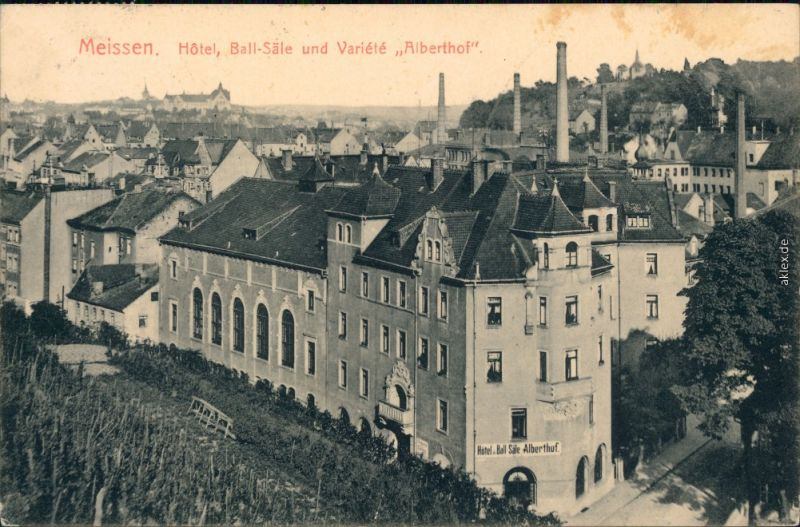 Meißen Hotel Ball-Säle und Variété Alberthof mit Fabrikschornsteine   1912