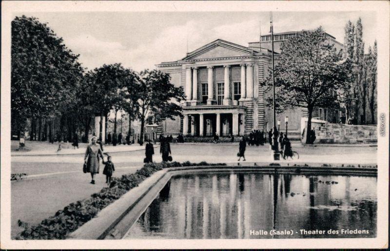 Ansichtskarte Halle (Saale) Partie am Theater des Friedens 1957