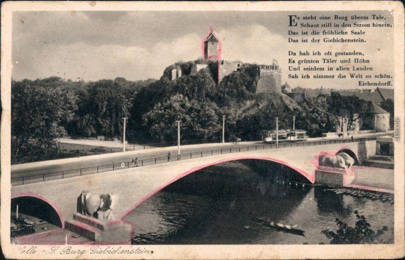 Ansichtskarte Giebichenstein-Halle (Saale) Brücke und Burg Giebichstein 1928
