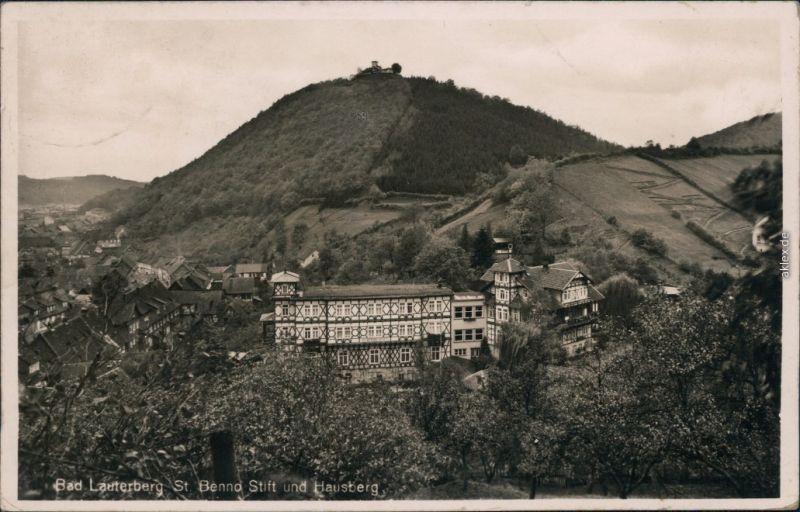 Ansichtskarte Bad Lauterberg im Harz St. Benno Stift und Hausberg 1937