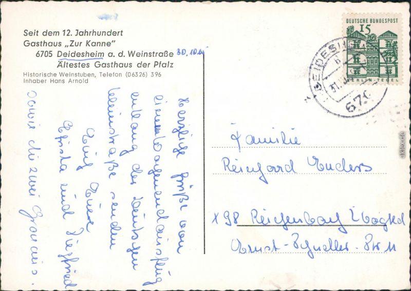 Ansichtskarte Deidesheim Gastraum - Gasthaus zur Kanne 1974 1
