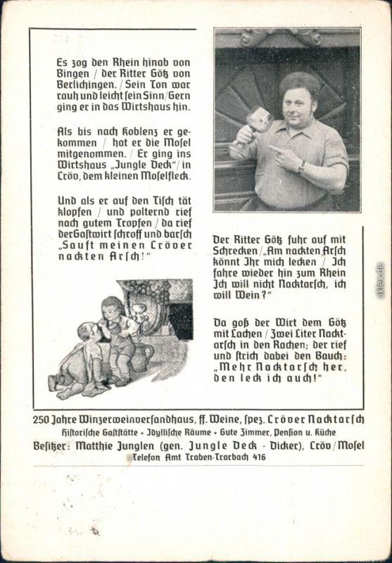 Kröv (Mosel)  Reichsschenke Zum Ritter Görtz Bernkastel-Wittlich 1939