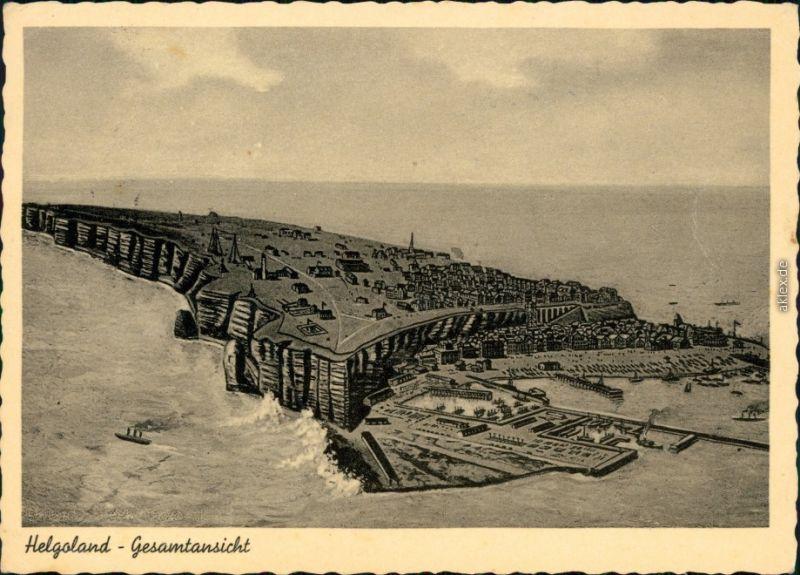 Ansichtskarte Helgoland (Insel) Künstlerkarte - Helgoland 1956