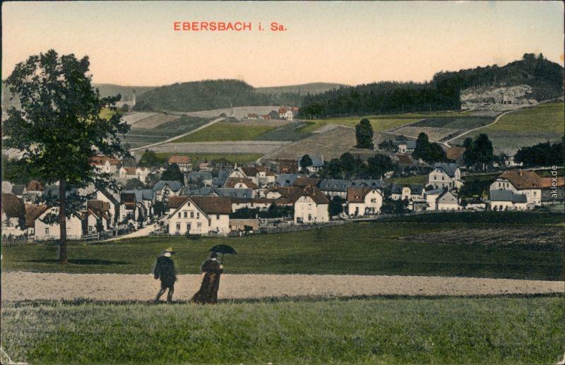 Ansichtskarte Ebersbach (Löbau/Zittau) Partie an der Stadt 1910
