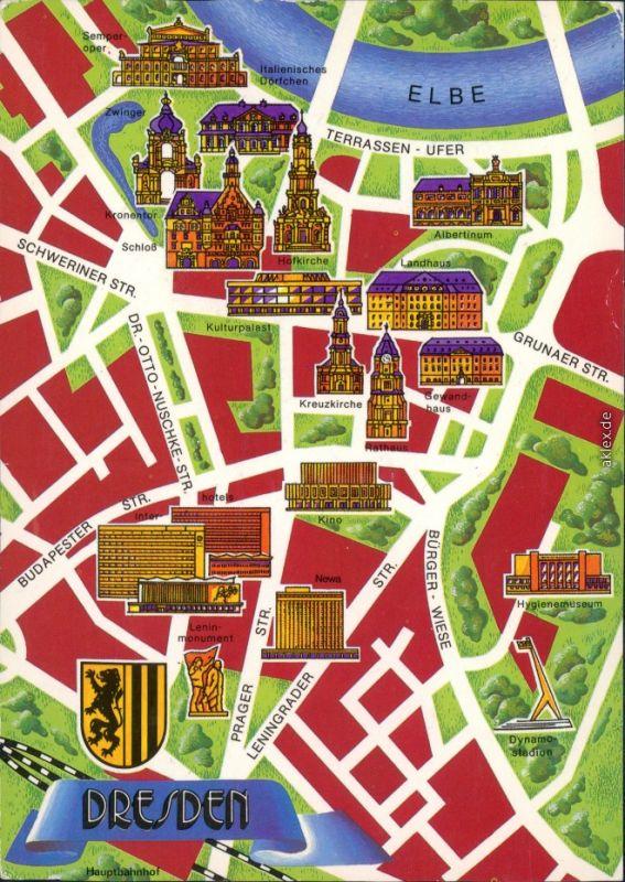altstadt dresden karte Ansichtskarte Dresden Stadtplan Dresden Altstadt xx1990 Nr. 88199