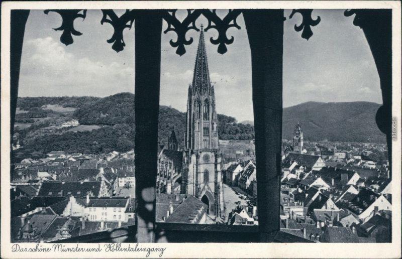 Ansichtskarte Freiburg im Breisgau Panorama-Ansicht, Münster 1939