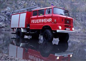 Ansichtskarte  Feuerwehr TLF 16/TS 8, W50 - Freiwillige Feuerwehr Bergen 1995