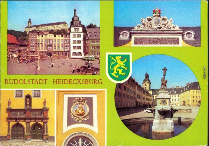 Ansichtskarte Rudolstadt Schloss Heidecksburg mit Markt und Brunnen g1984