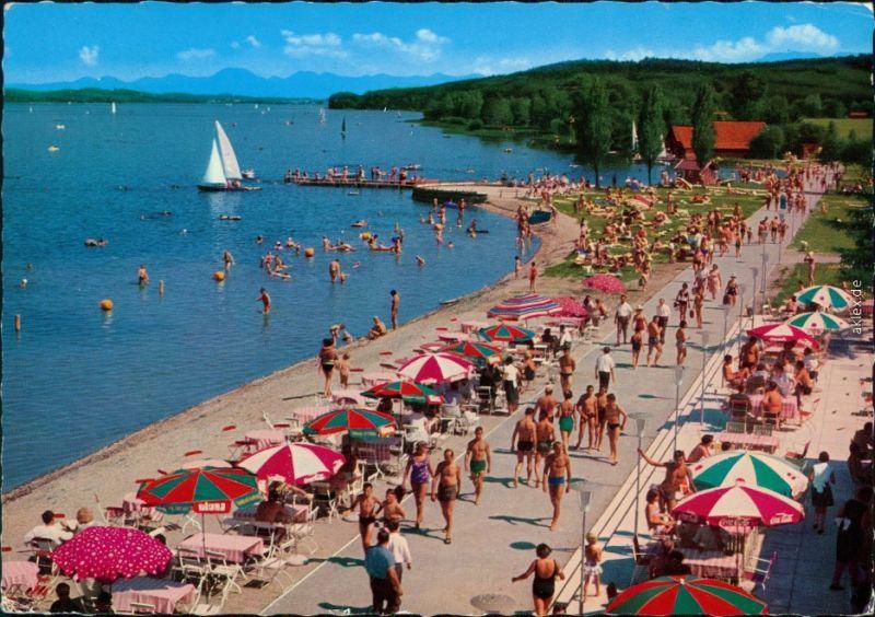 Ansichtskarte Waging am See Wagingersee mit Strand und Badegästen 1971