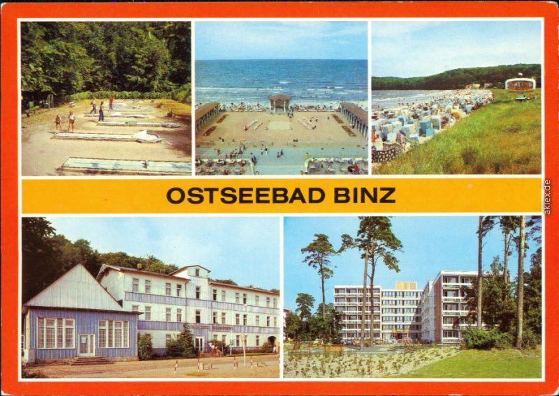 Binz (Rügen) Minigolfanlage, Konzertplatz, Strand, FDGB-Erholungsheime  1988