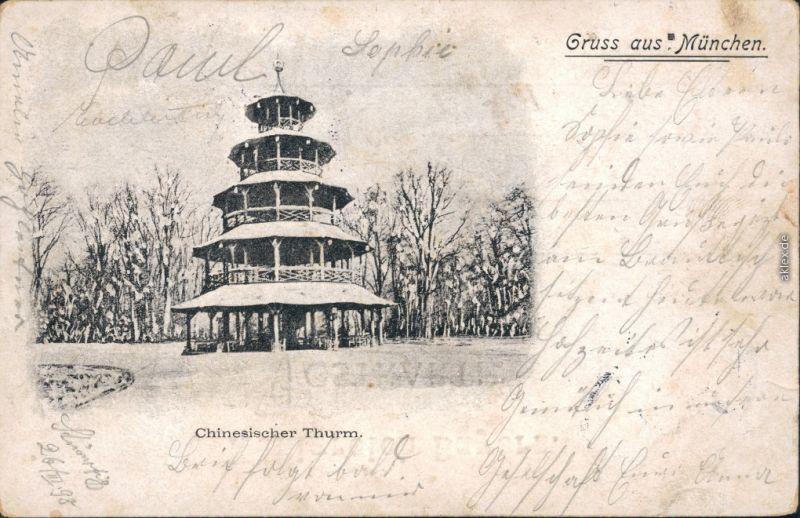 Ansichtskarte München Chinesischer Turm 1898