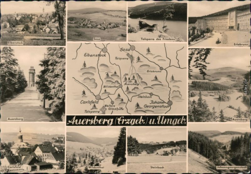 Sosa (Erzgebirge)-Eibenstock Umland-Ansichten: Sosa, Eibenstock, Erlabrunn 1960