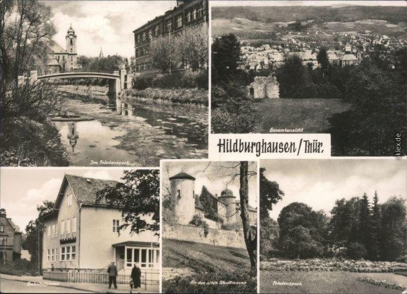 Hildburghausen Friedenspark, Panorama-Ansicht, Bahnhofshotel  1968