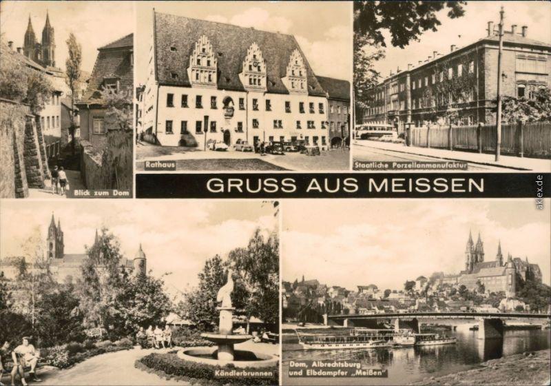 Meißen Dom, Rathaus, Staatliche Porzellanmanufaktur, Kändlerbrunnen, Dom c1969