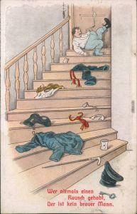 Scherzkarten - Wer niemals einen Rausch gehabt, Der ist kein braver Mann. 1926