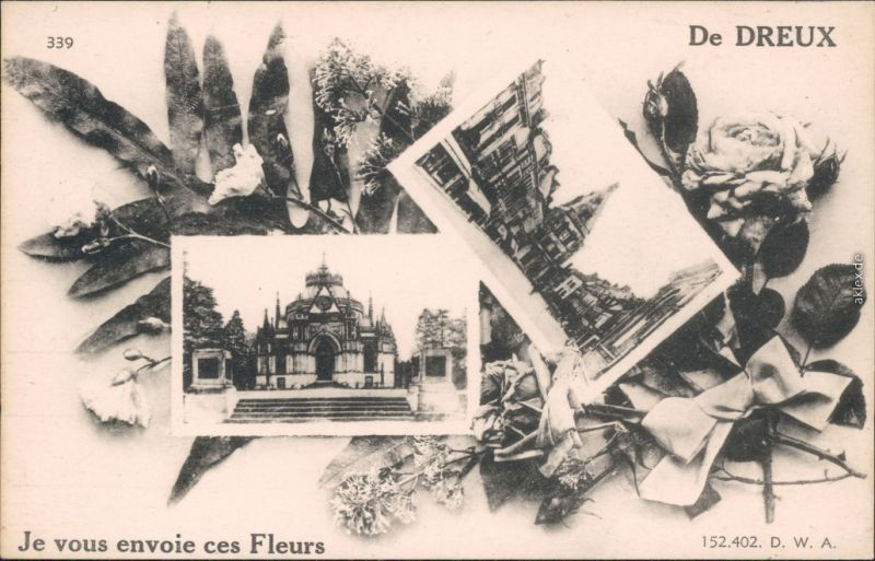 Ansichtskarte Dreux Je vous envoie ces Fleurs/Ortsmotive - mit Blumen 1926