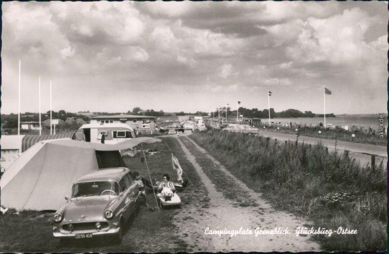 Glücksburg (Ostsee) Lyksborg Campingplatz mit Auto - Straßenpartie 1963