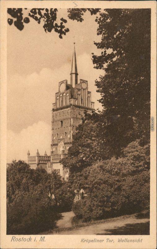 Ansichtskarte Rostock Kröpeliner Tor, Wallansicht 1926