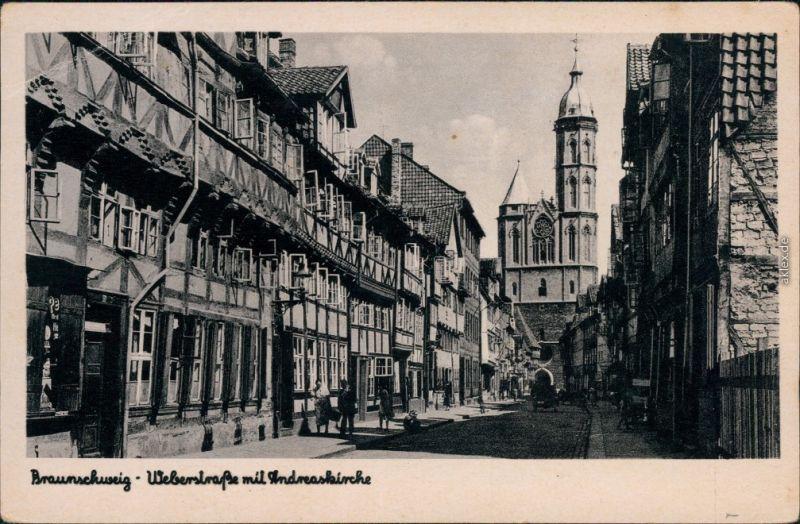Ansichtskarte Braunschweig Weberstrasse mit St. Andreas Kirche 1935